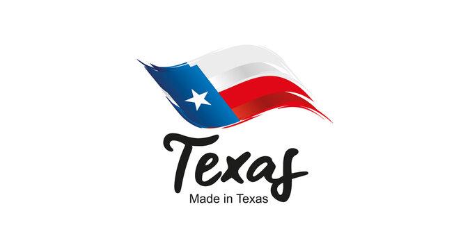 Made in Texas handwritten flag ribbon typography lettering logo label banner