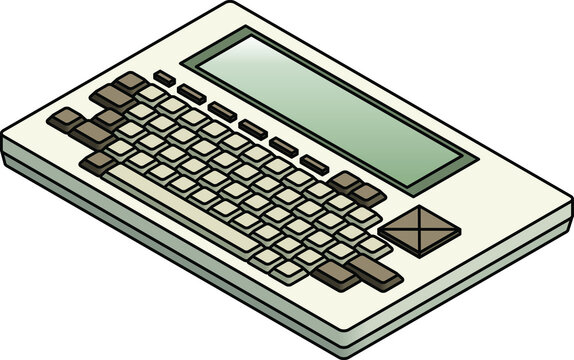 An old vintage/retro obsolete slab style portable computer.