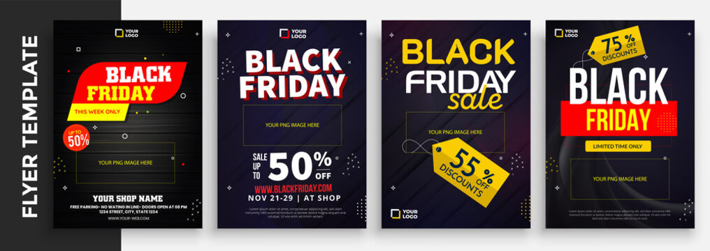 flyer template for Black Friday Sale Promotion with Sample Product Images, for A4 paper size with 3mm. bleeds area and Free Font Used with Eps file