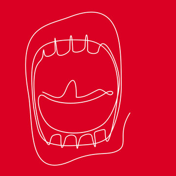 wide open screaming mouth - Continuous line drawing