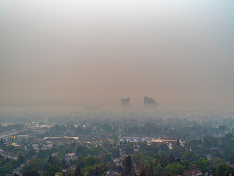 Smoke from wildfires covering the City of Sparks, Nevada