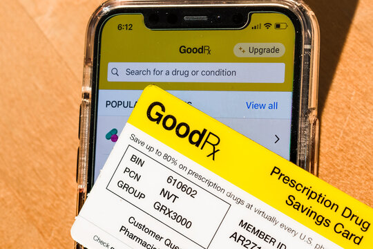 Sep 2, 2020 Sunnyvale / CA / USA - GoodRx Card placed in front of the GoodRx app open on a smartphone; GoodRx is a startup company providing prescription drugs discounts and a telemedicine platform