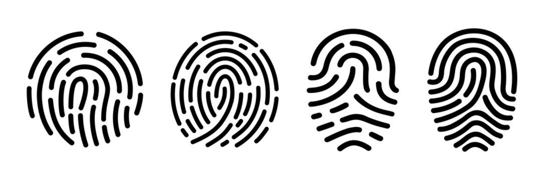 Set fingerprint scanning icon sign – stock Fingerprint scanning icon sign – stock vector
