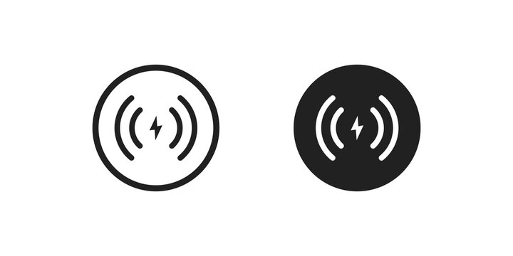 Wireless charger icon concept. Phone charge simple illustration in vector flat