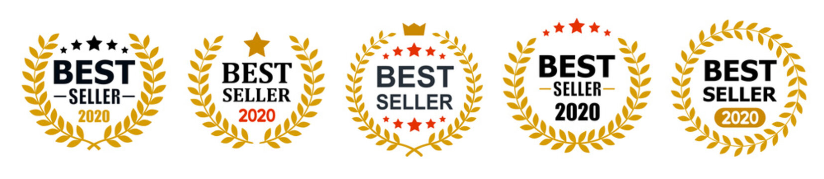 Set best seller icon design with laurel, best seller badge logo isolated - stock vector