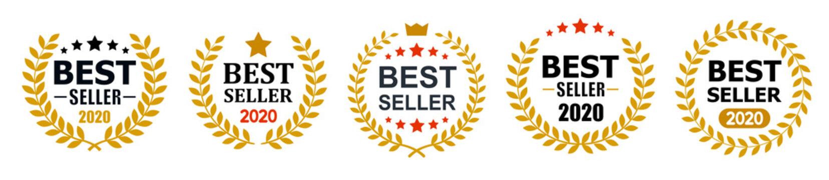 Set best seller icon design with laurel, best seller badge logo isolated - stock vector