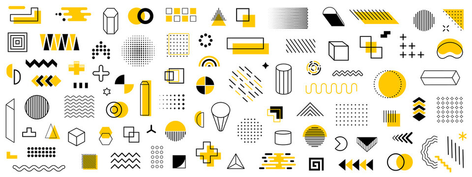 Set of geometric shapes. Memphis design retro elements. Collection trendy halftone geometric shapes. Retro funky graphic, 90s trends designs and vintage print element collection