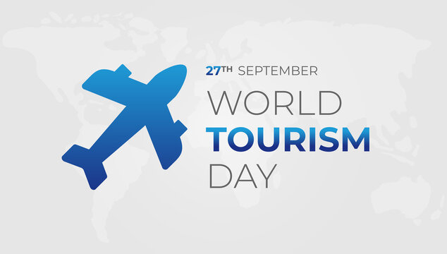 World Tourism Day Background Illustration with Airplane