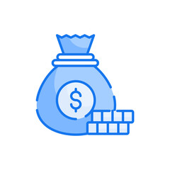 Money Bag blue color style icon. Banking and Finance symbol EPS 10 file.