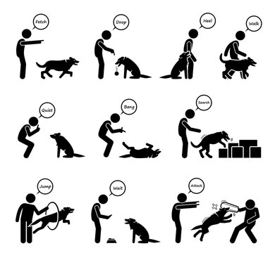 Advanced dog commands and behavioral training icons set. Vector illustrations of a person giving hand signals for the dog to follow in obedient learning.