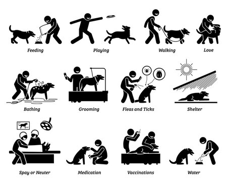 Dog care icons set. Vector illustrations of how to take care of a pet dog by giving food, shelter, love, and health needs.