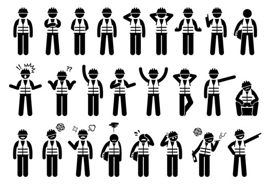 Industrial workers feelings, emotions, and actions icons set. Vector illustrations of construction worker with hard hat and safety vest.