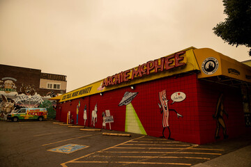 September 12, 20202, Seattle, Washington: General view of novelty store Archie McPhee under a smoke filled sky in Seattle, Washington.