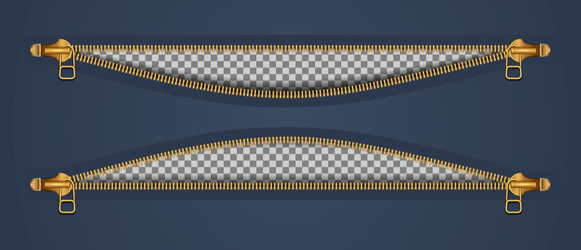 Two zippers for clothes, in two fasteners, open. Gold color on a dark background. Vector illustration.