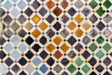Ceramic walls in the Alhambra of Granada.