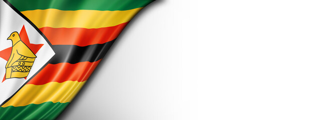 Zimbabwe flag isolated on white banner