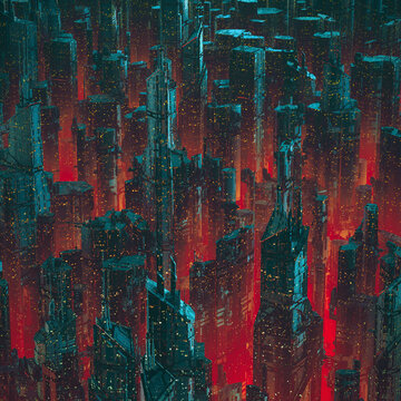 Capital city of the future / 3D illustration of dark towering futuristic science fiction cyberpunk cityscape at night