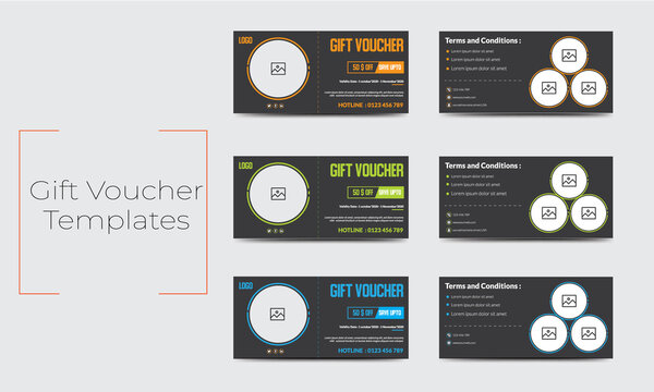Multipurpose  gift voucher  template. Modern discount coupon or certificate layout .Vector 3 Set design with information sample text.