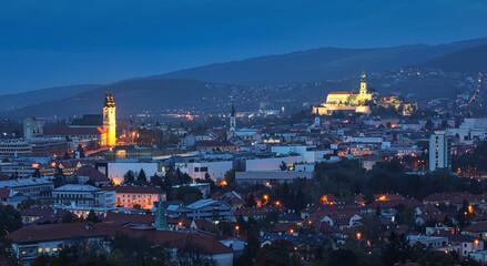 Nitra skyline with castle from calvary, Slovakia