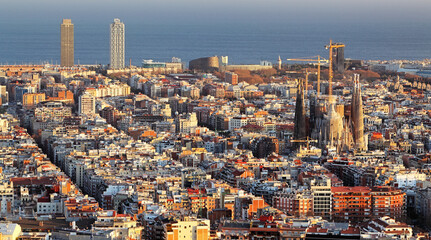 Panorama of Barcelona with Sagrada Familia