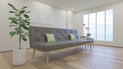 Empty living room with white wall and  gray sofa, Minimal Rustic,3D Rendering