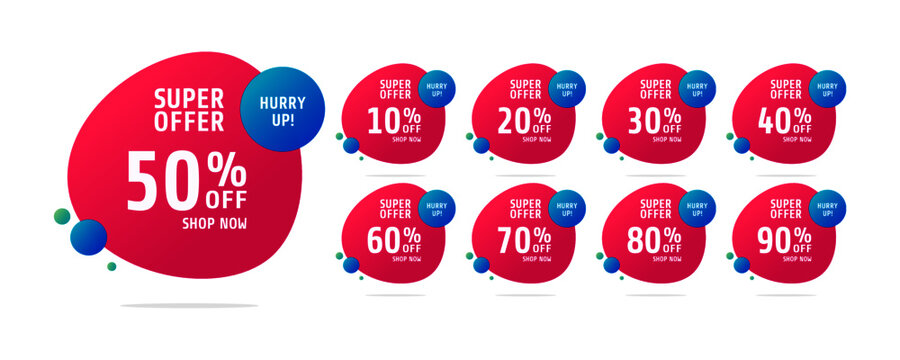 Sale tags set vector badges template, up to 10, 20, 90, 80, 30, 40, 50, 60, 70 percent off, vector illustration. Discount banner for social media.