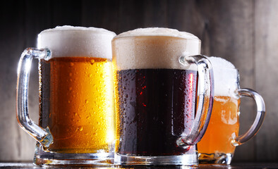Composition with glasses of beer of various kinds