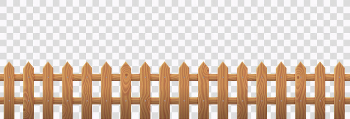 Wooden picket fence isolated on transparent background. Vector realistic barrier with brown wood texture for rustic garden, house backyard or farm. Enclosure from boards, rural boundary from planks