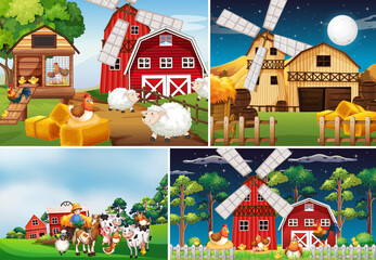 Printed kitchen splashbacks Kids Set of different farm scenes with animal farm cartoon style