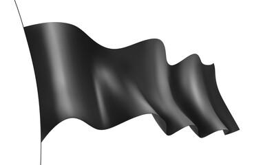 Black flag. Wavy 3D banner fluttering in the wind. Isolation on white