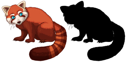 Red panda cartoon character its silhouette on white background