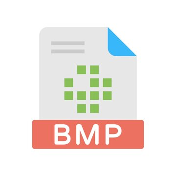 BMP File format icon in flat design style - vector illustration.