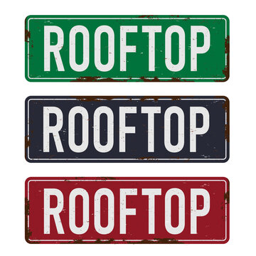 Vintage Metal Sign - Rooftop - Vector EPS10. Grunge effects can be easily removed for a cleaner look.