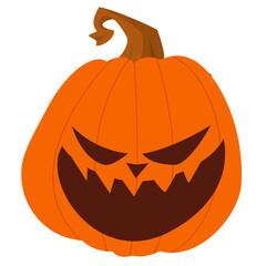 Cartoon funny halloween pumpkin head isolated. Vector illustration of jack-o-lantern