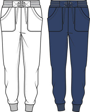 SWEAT PANTS FASHION FLAT SKETCHES technical drawings teck pack Illustrator vector template