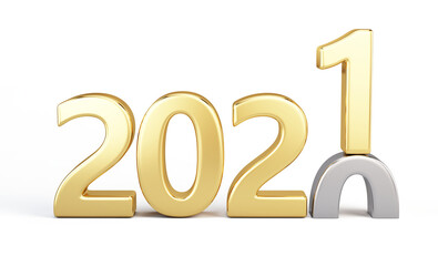 2020 year changes to Gold 2021. Happy New 2021 Year. Golden metallic numbers 2021 isolated on white. 3d rendering
