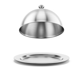 Open silver steel serving Cloche isolated on a white background. 3d rendering