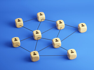 Concept of team, management, social network. Connected wooden blocks cubes with people icon on blue background - 3d rendering