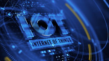 IOT - Internet of things concept. IOT word on abstract blue background - 3d rendering