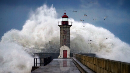 Lighthouse under storm