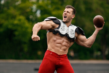American football sportsman player, muscular man. Strong naked male abs
