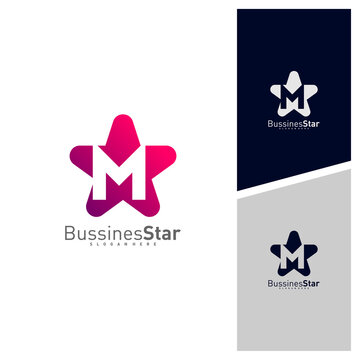 Letter M with Star Logo Template Design Vector, Concept, Creative Symbol, Icon