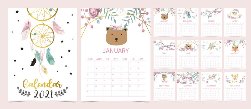 Cute boho calendar 2021 with bear, dreamcatcher, feather for children, kid, baby