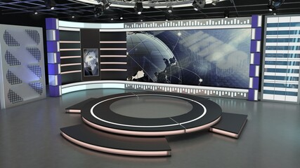 Virtual TV Studio News Set 7-3. 3d Rendering. Virtual set studio for chroma footage. wherever you want it, With a simple setup, a few square feet of space, and Virtual Set, you can transform any locat