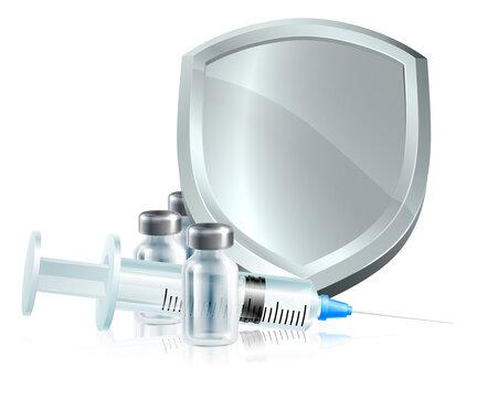 A vaccine immunisation syringe injection or other medicine shield medical concept
