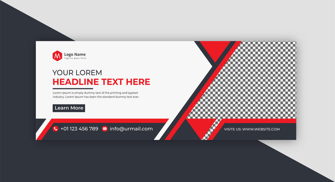 Creative Red And Black Modern Corporate Social Media Banner or Cover Photo Design