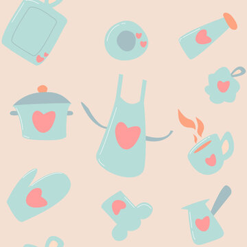 Seamless pattern for kitchenware background