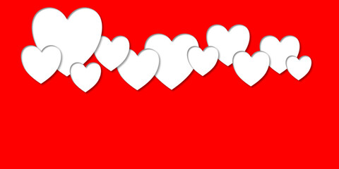 overlapping white hearts with shadows on a red background illustration