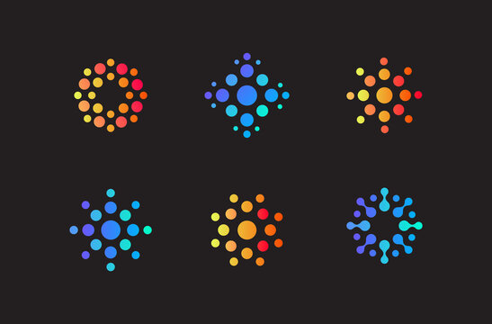 Set of abstract round logo of dots. Different shapes of coronavirus, vector icons. Logo concept for startup, business, innovate product, technology. Isolated modern signs