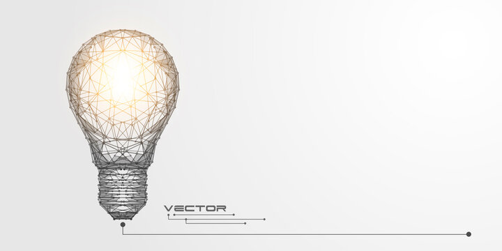Glowing light bulb .Lamp of lines and dots.Business concept .Technology banner.Vector illustration.
